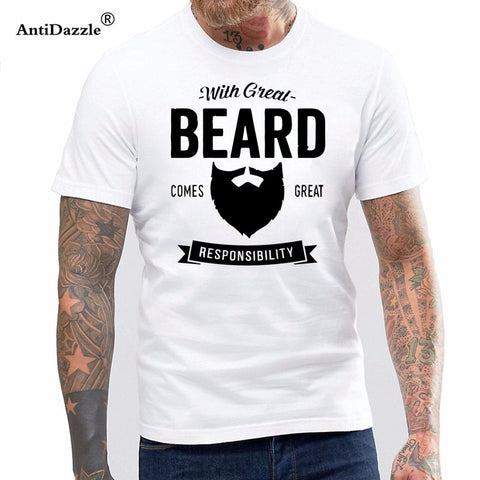 With Great Beard Painted Funny Men T-Shirts Father Days Gift (White, Black)