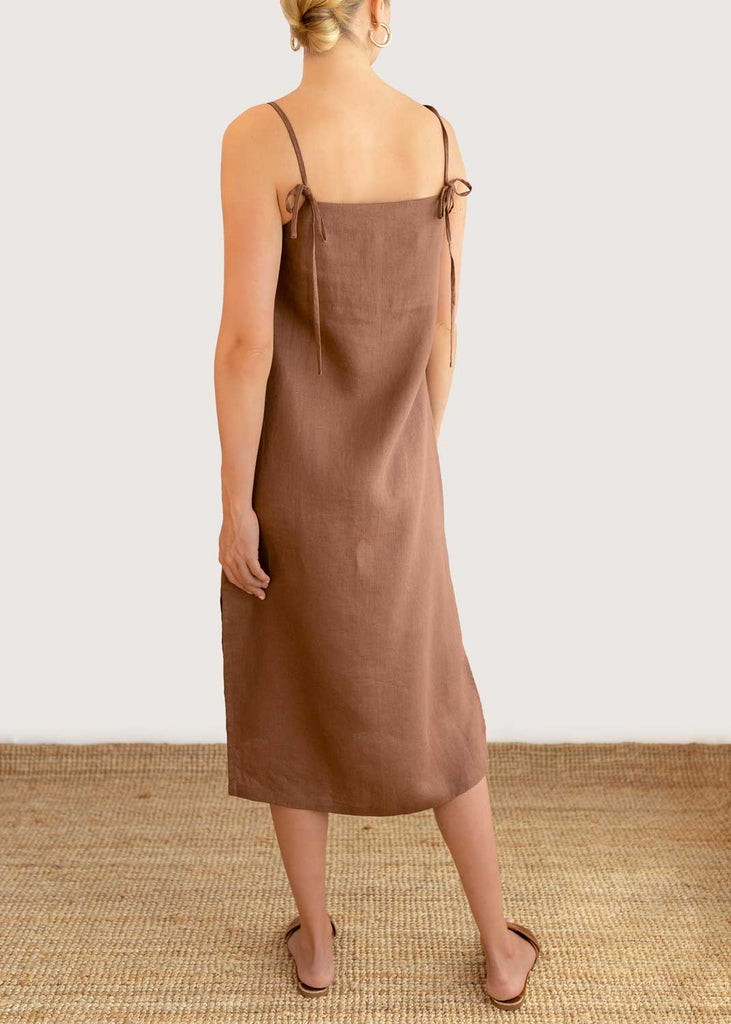 PUGLIA SLIP DRESS - LONGI BROWN