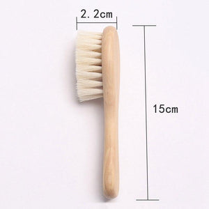 Baby Care Pure Natural Wool Baby Wooden Brush Comb Brush Baby Hairbrush Newborn Hair Brush Infant Comb Head Massager - Pop Up Life