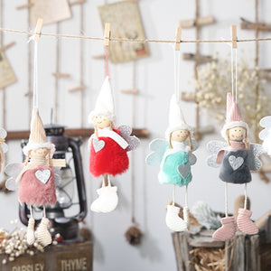 Plush Angel Heart Christmas Pendants Decorative Christmas Tree Hanging Ornaments For Holiday Kids Gift Home Decorations - Pop Up Life