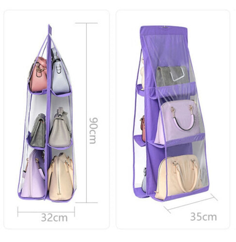 3 Layers Folding Shelf Bag 6 Pocket Foldable Hanging Bag Purse Handbag Organizer Door Sundry Pocket Hanger Storage Closet Hanger - Pop Up Life