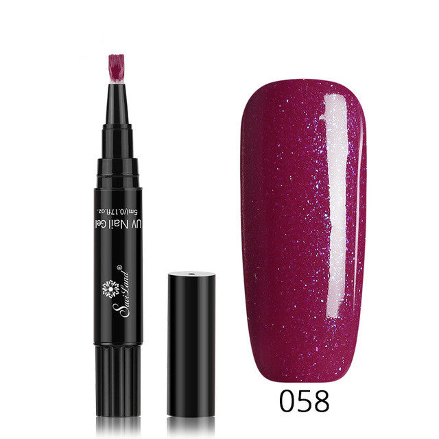 3 In 1 Gel Nail Varnish Pen Glitter One Step Nail Art Gel Polish Hybrid - Pop Up Life