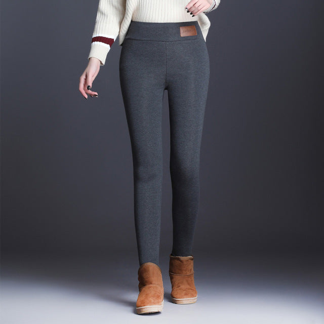 New Fashion High Waist Autumn Winter Women Thick Warm Elastic Pants Quality S-5XL Trousers Tight Type Pencil Pants - Pop Up Life