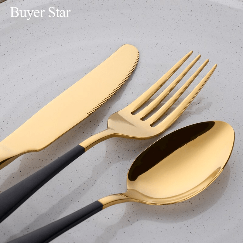Black Gold Flatware Cutlery Set - Pop Up Life
