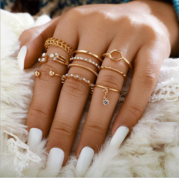 8pcs/sets Bohemian Geometric Rings Sets Clear Crystal Stone Gold Chain Opening Rings - Pop Up Life