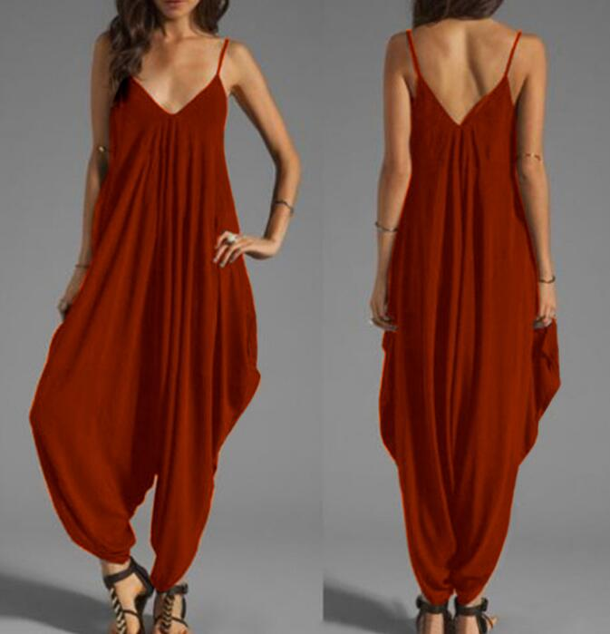 Low-cut V-neck Sexy Suspender Jumpsuit Casual Loose Jumpsuit - Pop Up Life