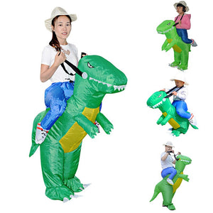 Hot Kids Adult Inflatable Funny Cute Cartoon Dinosaur Rider Festival Halloween Dress Party Costume - Pop Up Life