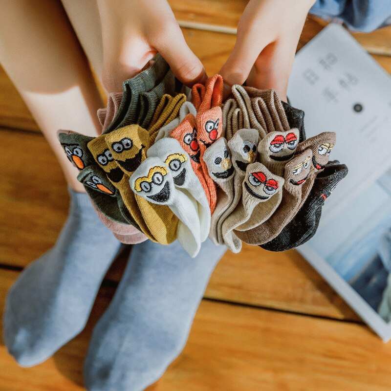 Japanese Kawaii Socks Woman Embroidered Expression Socks Fashion Ankle Funny Sock Women Cotton Thin 1 Pair Candy Color - Pop Up Life