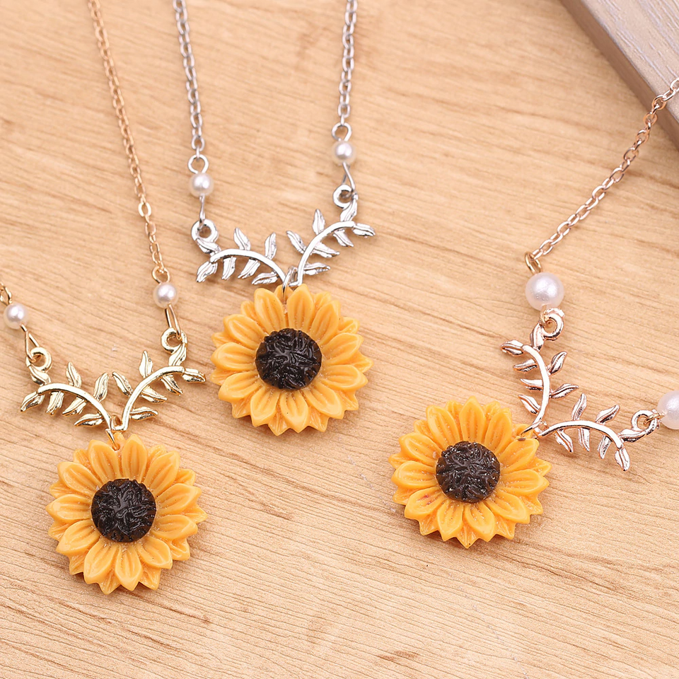 Vintage Sunflower Locket Pendant Necklace Bohemia female Gold Silver Open Engrave letter Necklaces Lover Gift - Pop Up Life