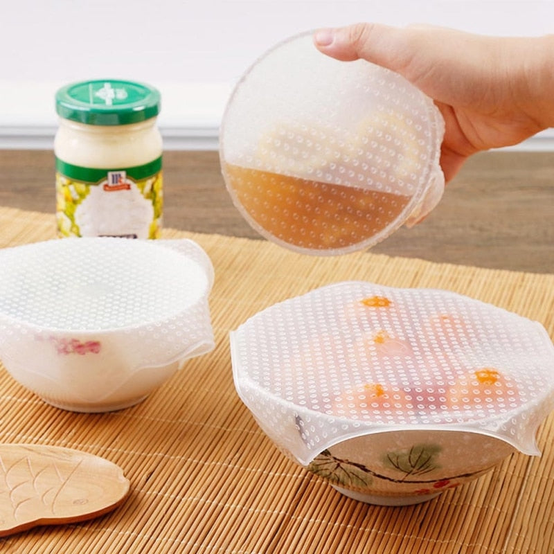 4pcs/set New Reusable Silicone Bowl Cover Food Wrap Seal Vacuum Lid Stretch Multifunctional Food Fresh Keeping Kitchen Tool - Pop Up Life