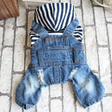 Fashion Stripe Denim Pet Jumpsuit - Pop Up Life