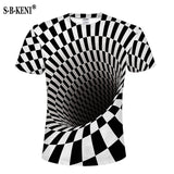 Print Short sleeved Tees Men Black And White Vertigo Hypnotic colorful Printing 3D T shirt - Pop Up Life