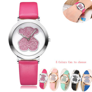 Women Watch Cute Blingbling Bear Watch Women Leather Band Ladies Watch - Pop Up Life