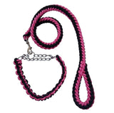 Double Strand Rope Large Dog Leashes Metal P Chain Buckle Contrast Colorful Pet Traction Rope Collar Set Firm 1.2m Length - Pop Up Life