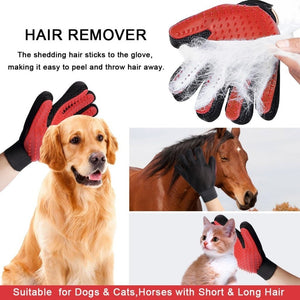Cat Grooming Gloves Dog Hair Remover Gentle Deshedding Brush Comb Tool Pet Massage Mitt with Enhanced Long/Short Fur - Pop Up Life