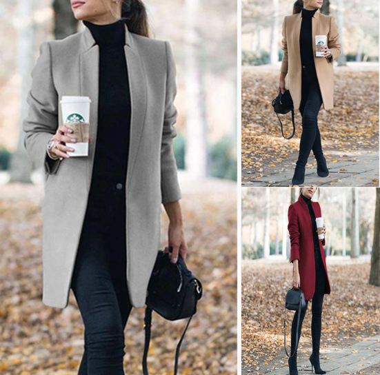 Long Wool Coat Warm Elegant Winter Coat Female Plus Size - Pop Up Life