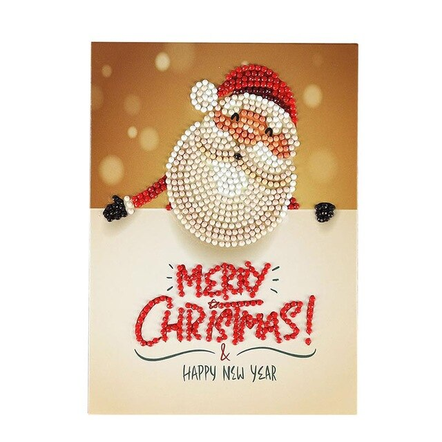 Diamond Painting Cartoon Greeting Cards Diamond Embroidery Christmas Paper Greeting Postcards Festival Craft DIY Kids - Pop Up Life