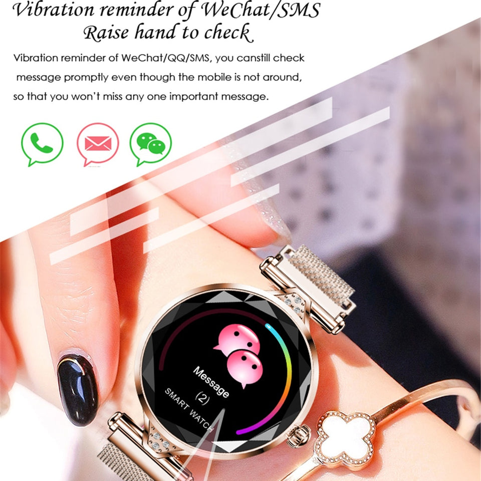 H1 Women Fashion Smart Watch Blood Pressure Heart Rate Monitor Fitness Tracker Bracelet Smartwatch Diamond Flower Color Screen - Pop Up Life