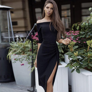 Spring Autumn Dress Women Hip Slit Collar Off The Shoulder Slash Neck Glittering Dinner Party Dress Women Evening Casual Clothes - Pop Up Life