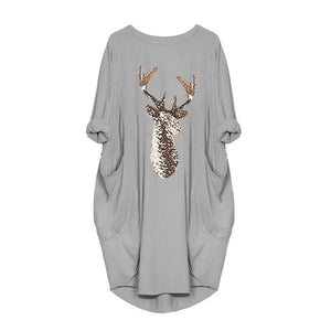 Women Long Sleeve Dress Harajuku Casual Knee-length Dress s-5xl Plus Size Dresses Elbise Christmas Moose Print Party Vestidos - Pop Up Life