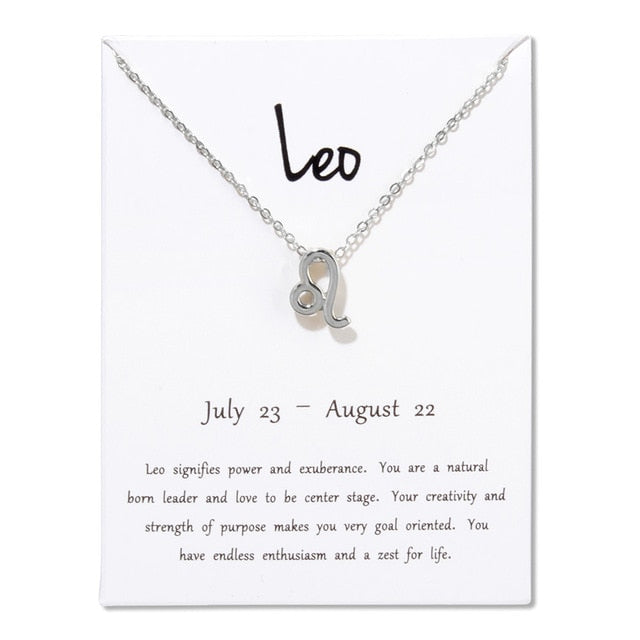12 Constellation Zodiac Pendant Necklace With White Card - Pop Up Life
