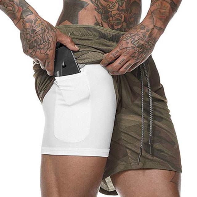 Men's 2 in 1 Running Shorts Men's Sports Shorts Quick Drying Training Exercise Jogging Gym Shorts with Built-in pocket Liner - Pop Up Life