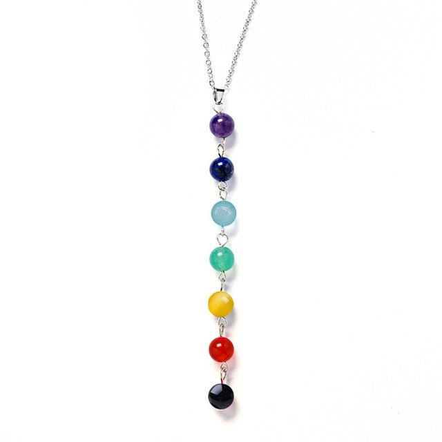 Seven Color Stone Chakra Necklaces Pendants Yoga Reiki Healing Balancing 7 Chakra Necklace - Pop Up Life