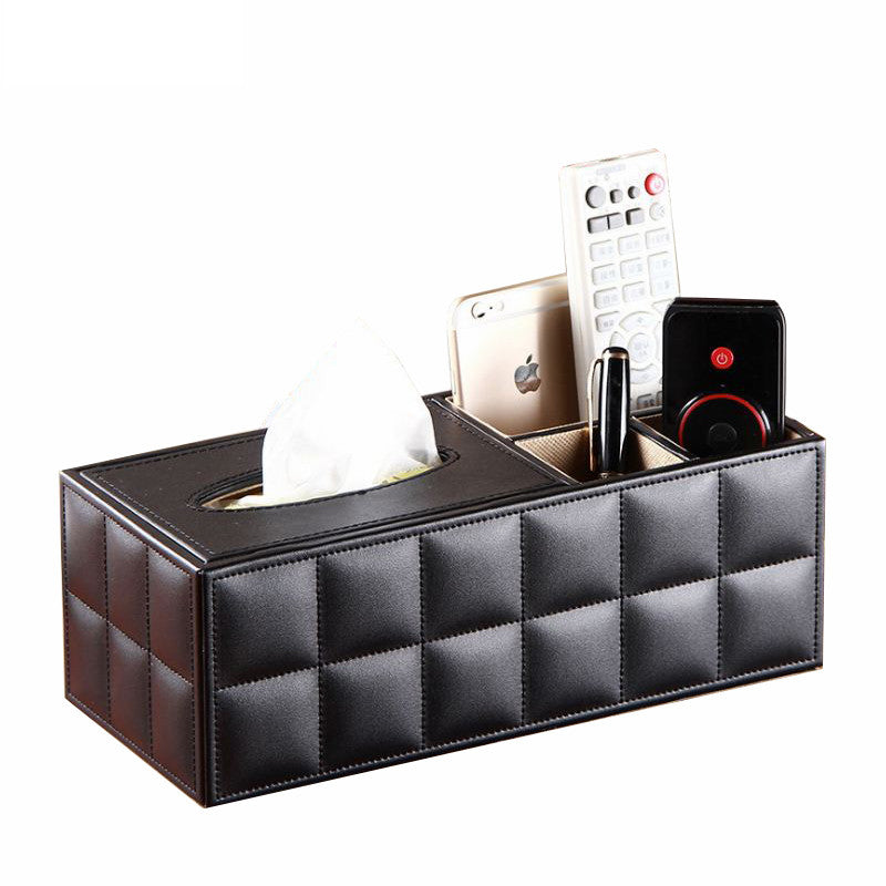Leather Multifunctional Tissue Box Napkin Phone Remote Control Holder Wooden Storage Box Desk Organizer Container - Pop Up Life