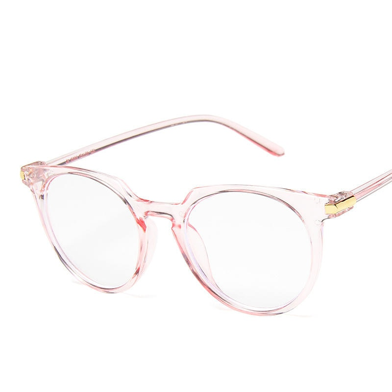 Round Eyeglasses For Women Fake Glasses Cute Fashion Clear Glasses Frame Pink Transparent Eye Glasses Frames For Women - Pop Up Life