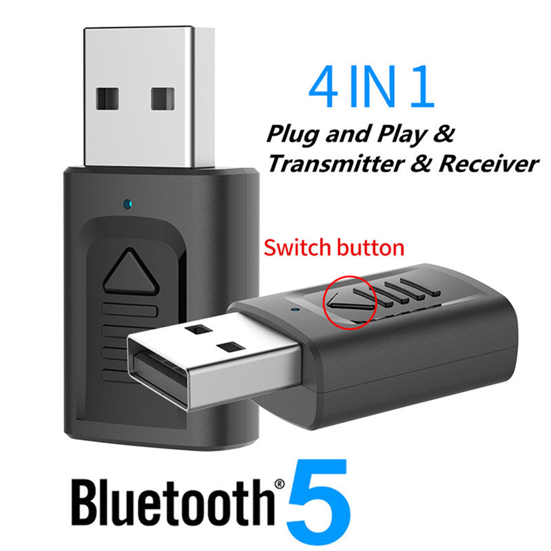 USB Bluetooth 5.0 Adapter 3.5mm AUX BT Audio Receiver Transmitter Wireless Dongle For Car TV Speaker 4 in 1 Bluetooth Adapter - Pop Up Life