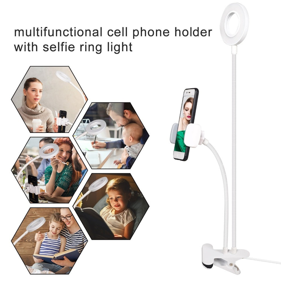 Photo Studio Selfie LED Ring Light with Cell Phone Mobile Holder for Youtube Live Stream Makeup Camera Lamp for iPhone Android - Pop Up Life