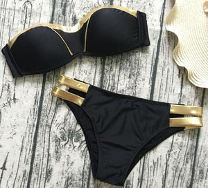 Gold Stamping Bikini Set Sexy Padded Women Swimsuit Push Up Bandeau Swimwear Summer Beachwear - Pop Up Life