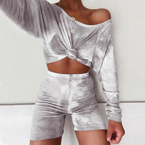 Summer Women Set 2020 Tie Dye Long Sleeve Crop Top Shirt Loose And Mini Biker Shorts Casual Two Piece Sets Outfits Sport - Pop Up Life