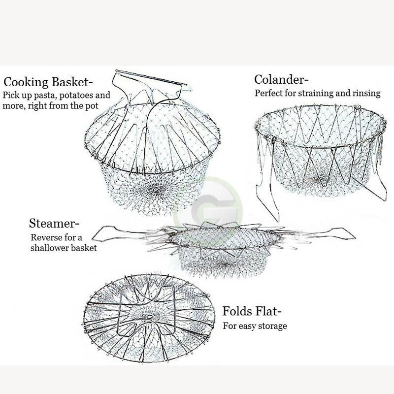 Foldable Steam Rinse Strain Fry Chef Basket Magic Mesh Basket Strainer Net Kitchen Cooking Tool Multifunction - Pop Up Life