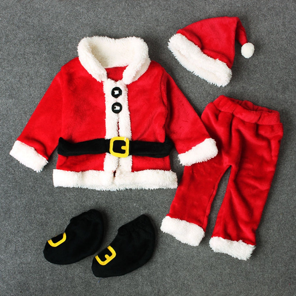 Baby Christmas Clothes 4PCS Newborn Infant Baby Santa Christmas Tops+Pants+Hat+Socks Outfit Set Costume Xmas Winter Clothing - Pop Up Life