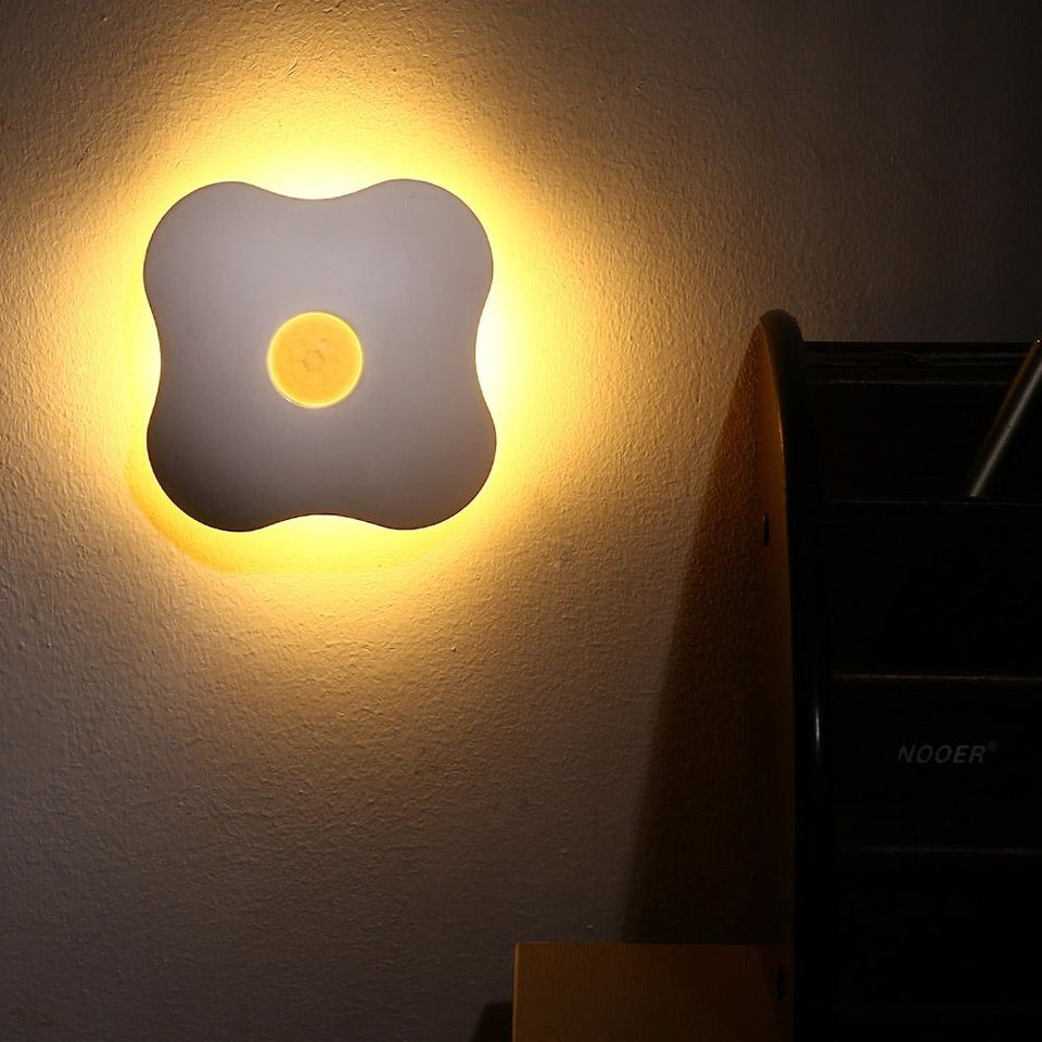 Night Light Luminaria Floral Night Lights Human Body Auto Motion Baby Night Light Lamp Wall LED Sensor Four Leaf Clover - Pop Up Life