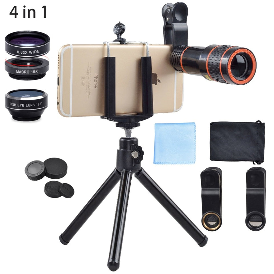 4in1 5in1 7in1 10in1 13in1 Phone camera Lens Kit Fisheye Wide Angle Macro Telescope for iPhone Xiaomi Android Phone - Pop Up Life