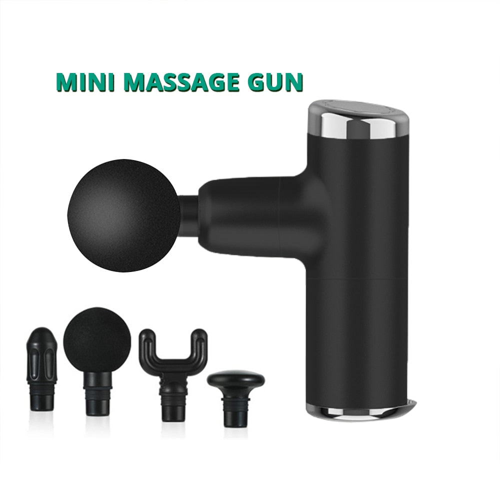 Mini Electric Massage Gun Deep Muscle Fascial Body Massager Gun Tissue Percussion Small Fitness Equipment Acid Relief Pain Relax - Pop Up Life