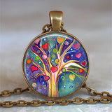 Tree Of Life Glass Cabochon Statement Necklace - Pop Up Life