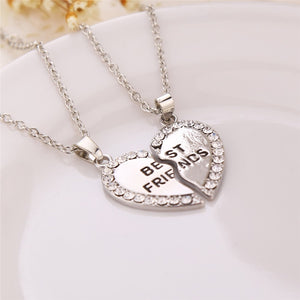 2 Pcs BFF Necklace Crystal Heart Pendant Best Friend Letter Necklace - Pop Up Life