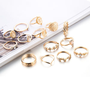 15 Pcs/set Boho Virgin Mary Gold Rings for Women Heart Fatima Hands Anillos Cross Leaf Geometric Jewelry - Pop Up Life