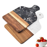Marble and Acacia Wood Kitchen Chopping Board Non Slip Cutting Blocks Fruit Cheese Tools Knife Accessories Steak Pizza Tray - Pop Up Life