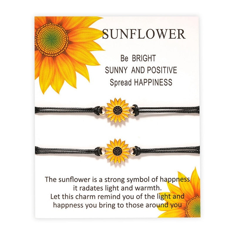 Fashion Sunflower Charms Braided Bracelet for Women Adjustable Rope Chain Daisy Wristband Jewelry Gift - Pop Up Life