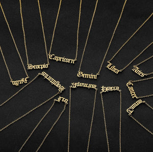 Constellation Zodiac Necklaces Jewelry for Women Antique Style Designed Letter Taurus Aries Necklaces Collier - Pop Up Life