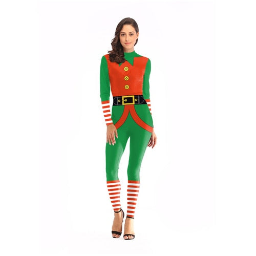 Belt Printed Jumpsuit Christmas Costume For Women - Pop Up Life