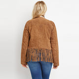 joanne Plus Size boho fringe jacket Fashion Women Solid Bohemian Coat Tassel hippie hippy retro vintage brown - WomensPlusSizeShop coat