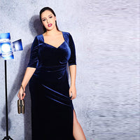 lana Plus Size blue velvet Dress Fashion Women Clothing Casual Elegant maxi Sexy Vintage retro - WomensPlusSizeShop dress