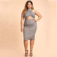 lola Plus Size bodycon Women Sexy Dress Cross Front Backless halter midi - WomensPlusSizeShop dress