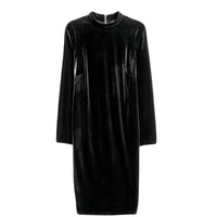 posh black velvet Plus Size bodycon Dress Elegant Long Sleeve mock high neck midi - WomensPlusSizeShop dress