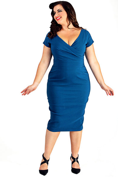 norma jean Plus Size Dress Bodycon Pencil Dress Knee Length wiggle rockabilly Party - WomensPlusSizeShop dress